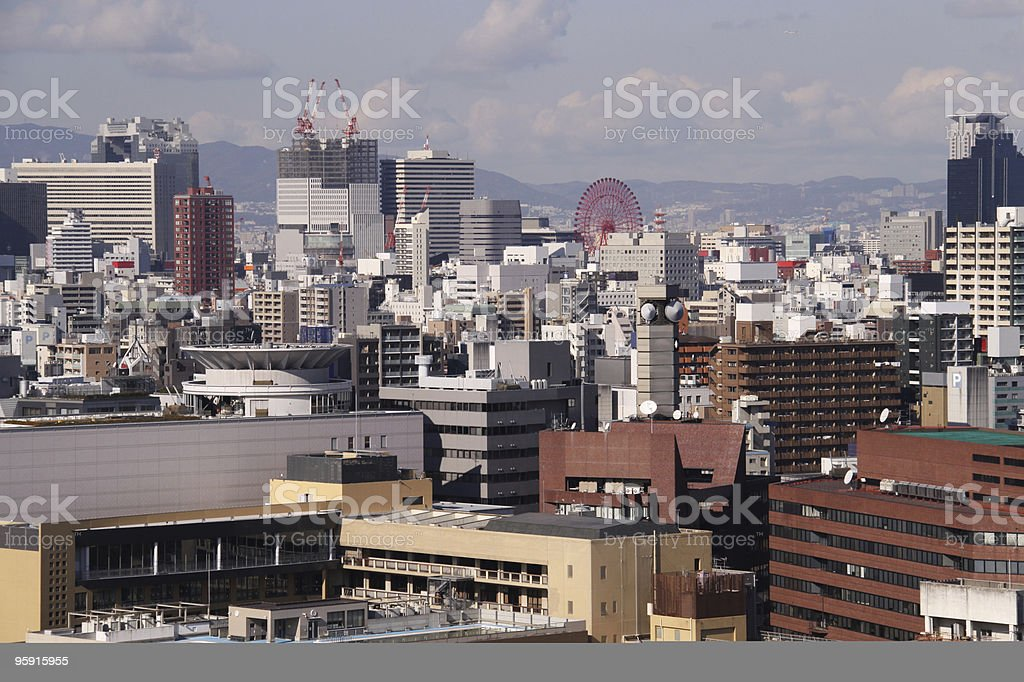 Osaka cityscape horizontal royalty-free stock photo