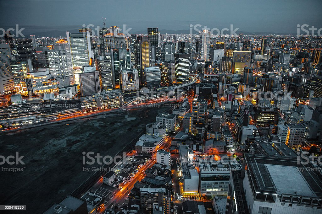 Osaka in Japan cityscape aerial view downtown at night stock photo