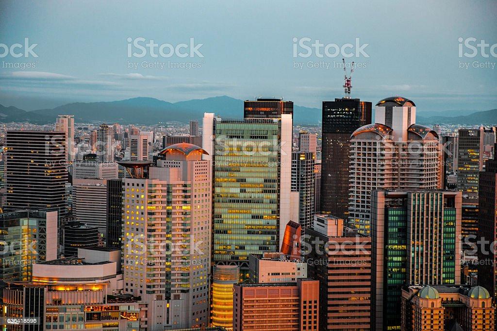 Osaka in Japan cityscape at dusk stock photo