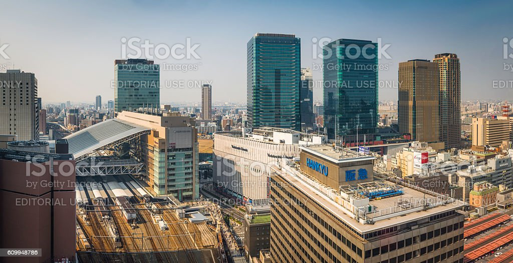 Osaka Station Umeda skyscrapers crowded urban cityscape panorama Japan stock photo