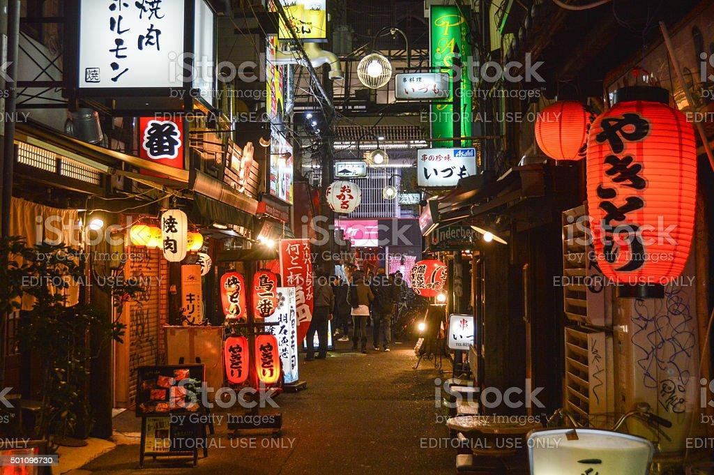 Osaka - Typical Osaka alleyway near the famous Dotonbori Canal stock photo