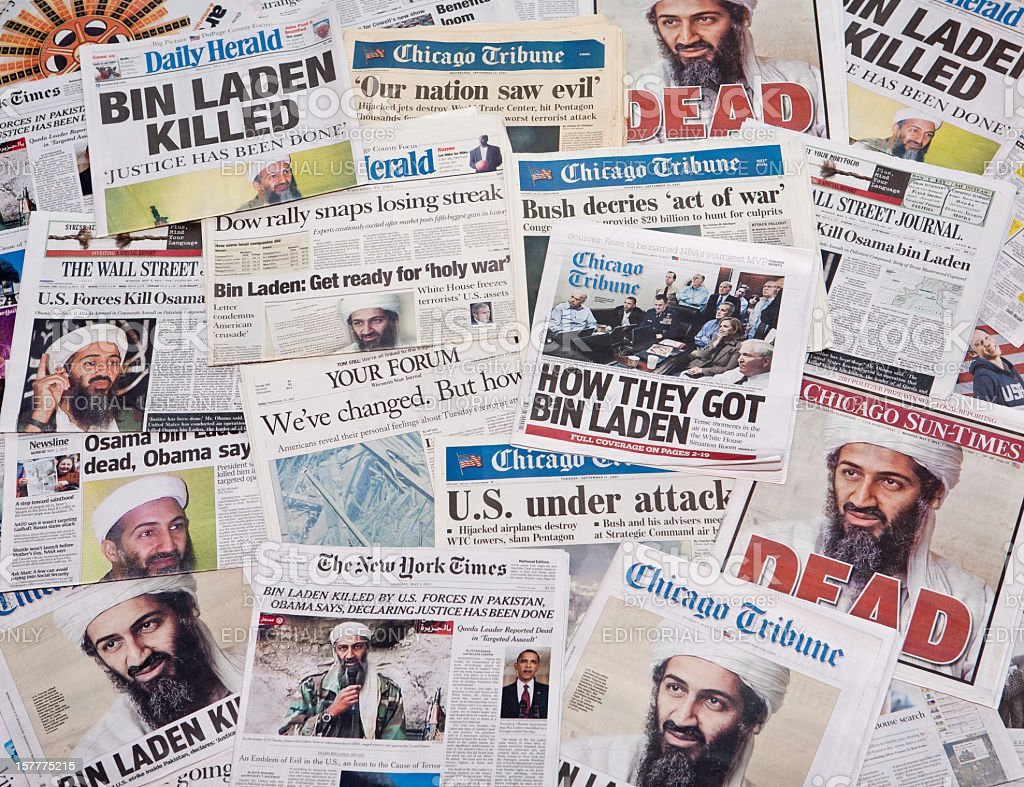 Osama Bin Laden before and after headline collage stock photo