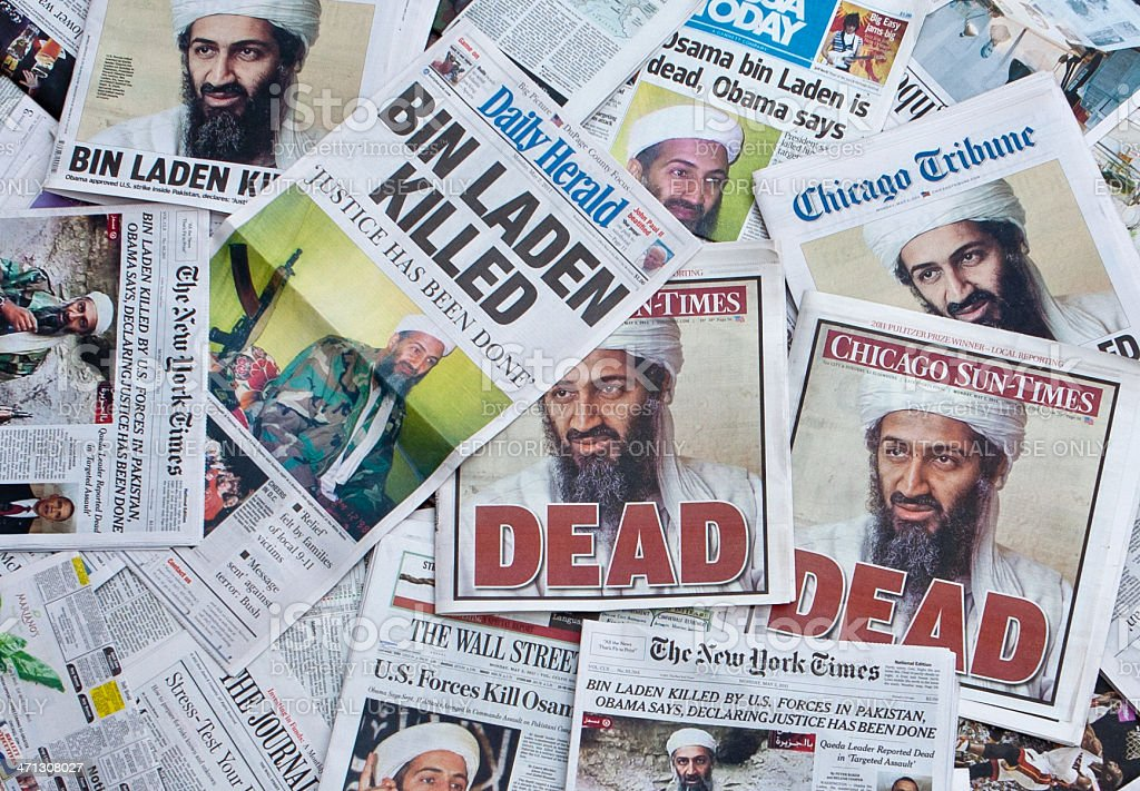 Osama Bin Laden Dead Newspaper headlines horz stock photo