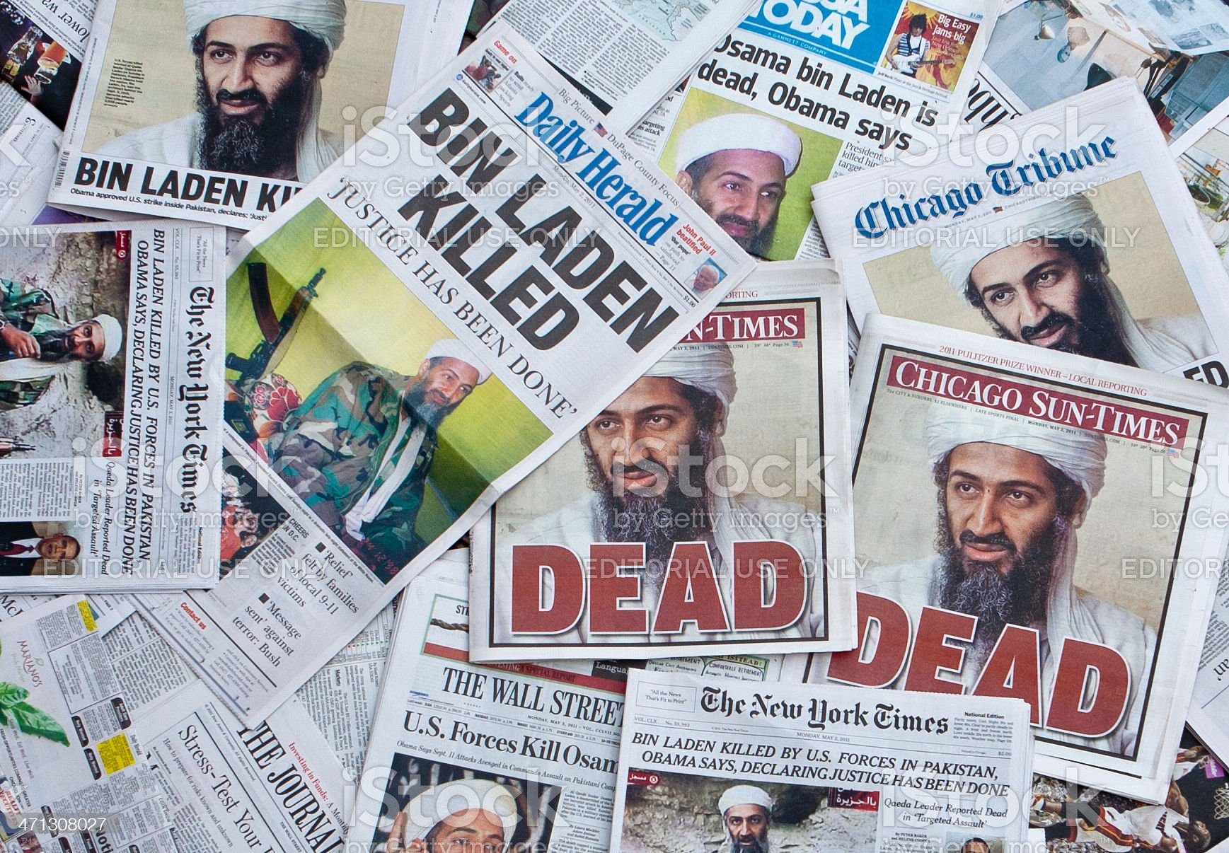 Osama Bin Laden Dead Newspaper headlines horz royalty-free stock photo