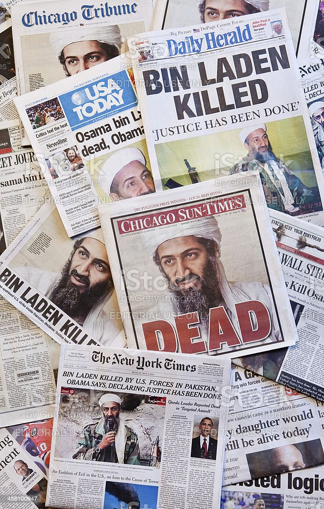 Osama Bin Laden Dead Newspaper headlines vertical stock photo