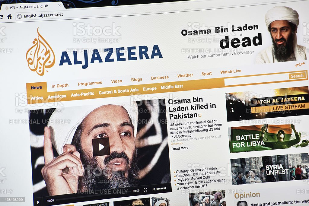 Osama Bin Laden is Dead on Al Jazeera Hompage stock photo