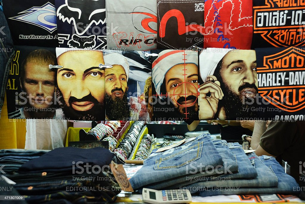 Osama bin Laden on t-shirt stock photo