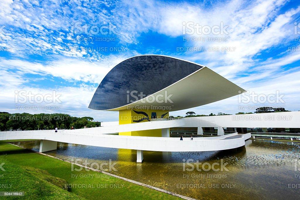 Oscar Niemeyer Museum (aka MON) in Curitiba, Parana, Brazil stock photo