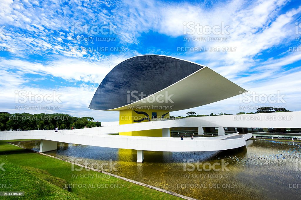 Oscar Niemeyer Museum (aka MON) in Curitiba, Parana, Brazil stock photo