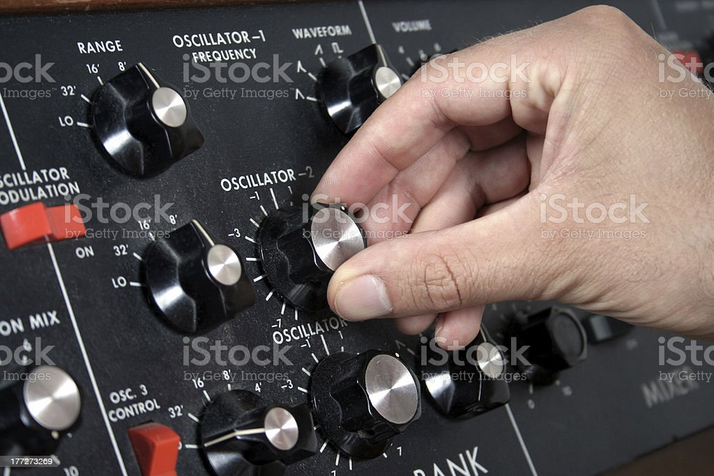 Oscillator of a vintage synth stock photo