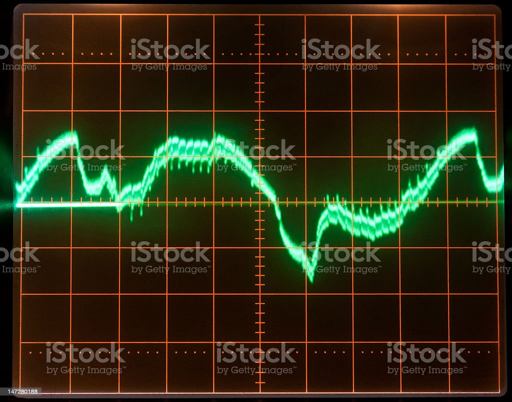 Oscillograph screen stock photo