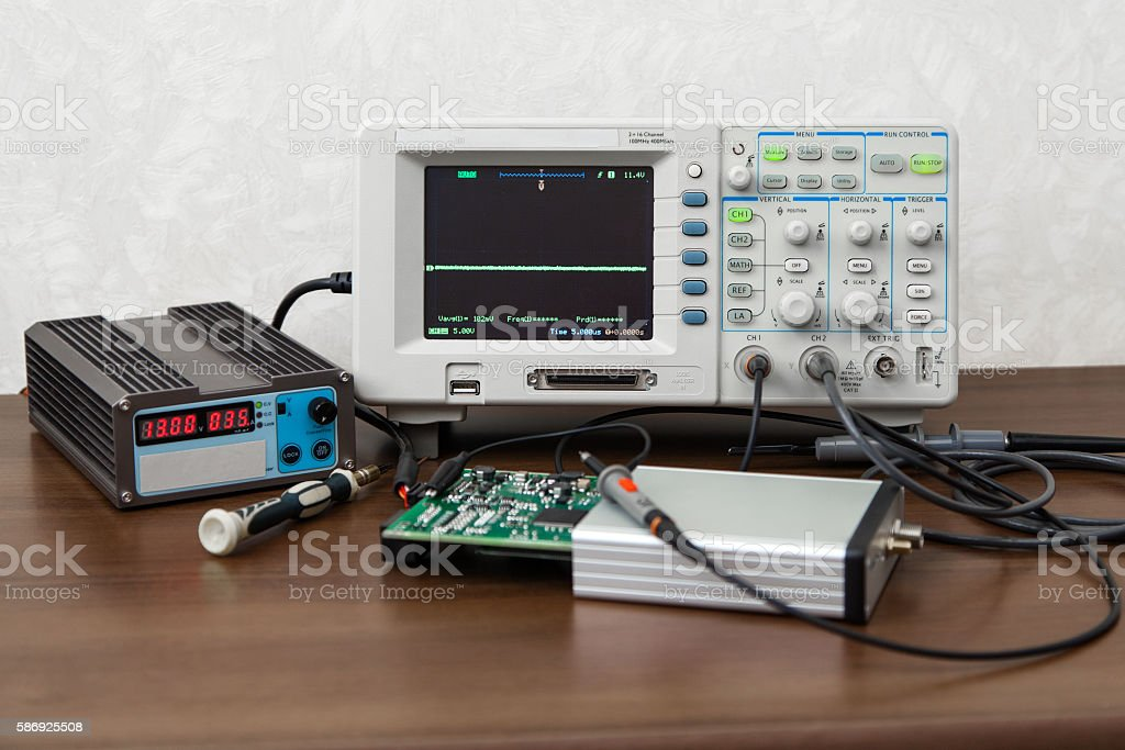 oscilloscope for control electronic signals stock photo