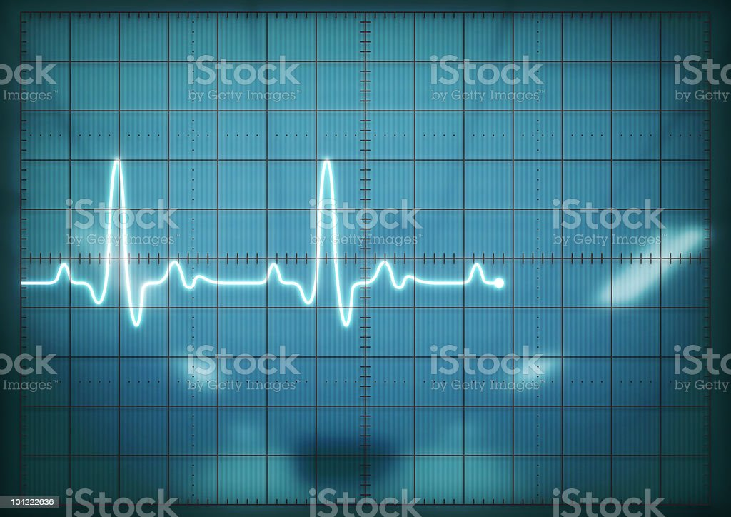 Oscilloscope screen showing heartbeat stock photo