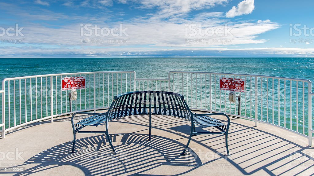 Oscoda Pier, Lake Huron, Oscoda, MI stock photo