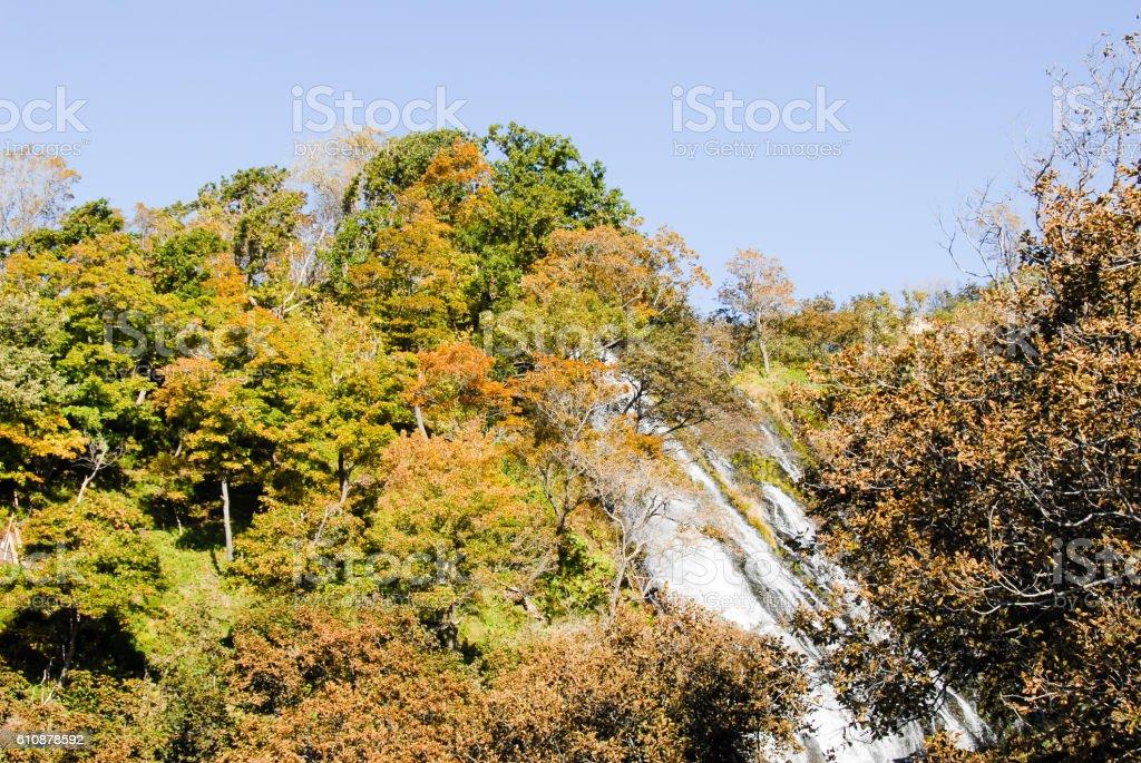 Oshinkoshin Falls in Autumn in Shiretoko, Hokkaido, Japan stock photo