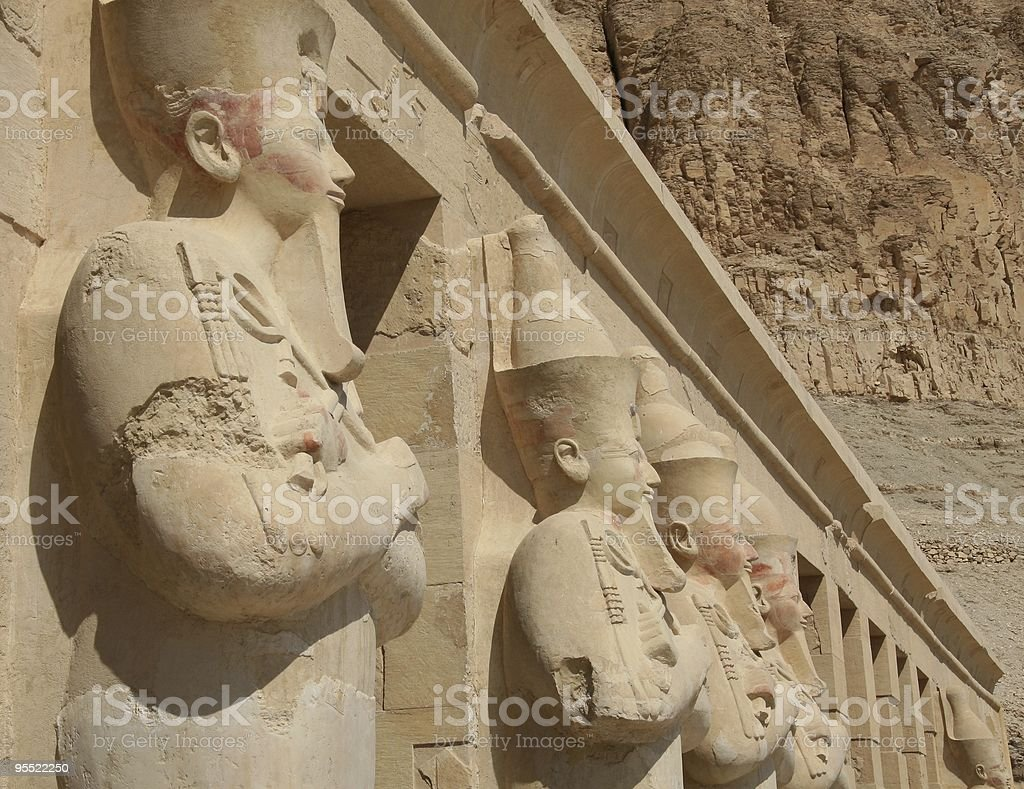 Osirian statues, Mortuary Temple of Hatshepsut, Deir-el-Bahri, Egypt stock photo