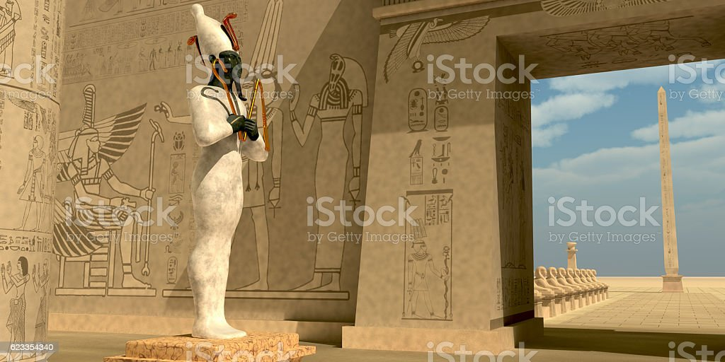 Osiris Statue in Pharaoh Temple stock photo