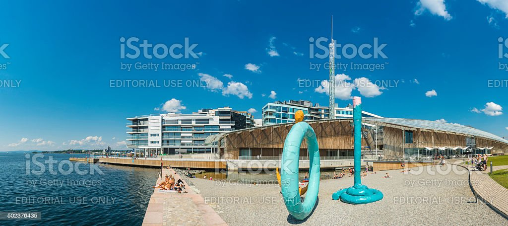 Oslo Aker Brygge beach waterfront apartments Astrup Fearnley museum Norway stock photo