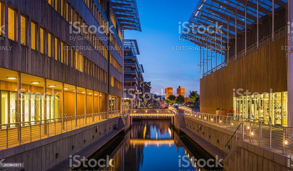 Oslo Astrup Fearnley Museum of Modern Art Aker Brygge illuminated stock photo