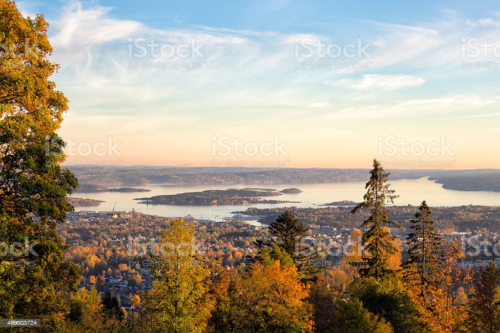 Oslo fjord at autumn seen from the hills, Norway stock photo