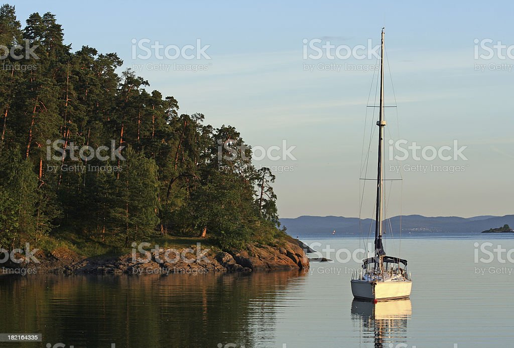 Oslo Fjord at dusk, Bygdø Norway royalty-free stock photo