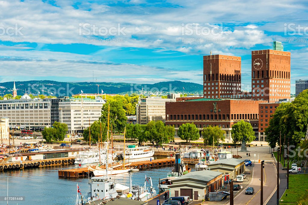 Oslo harbor and city hall stock photo