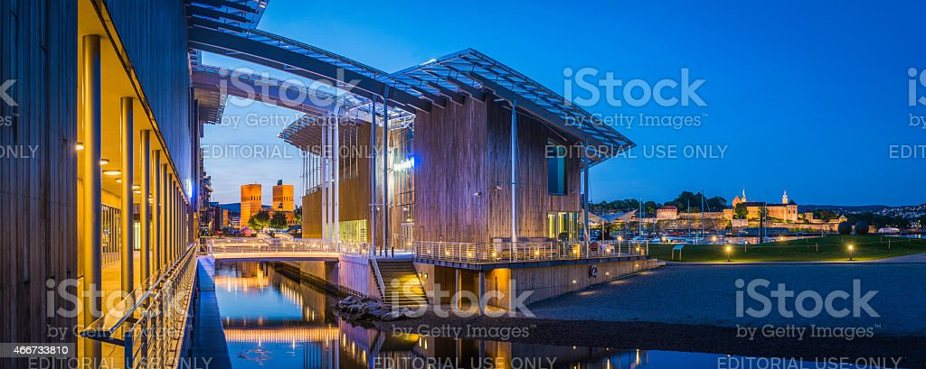 Oslo landmarks illuminated Aker Brygge Astrup Fearnley City Hall Norway stock photo