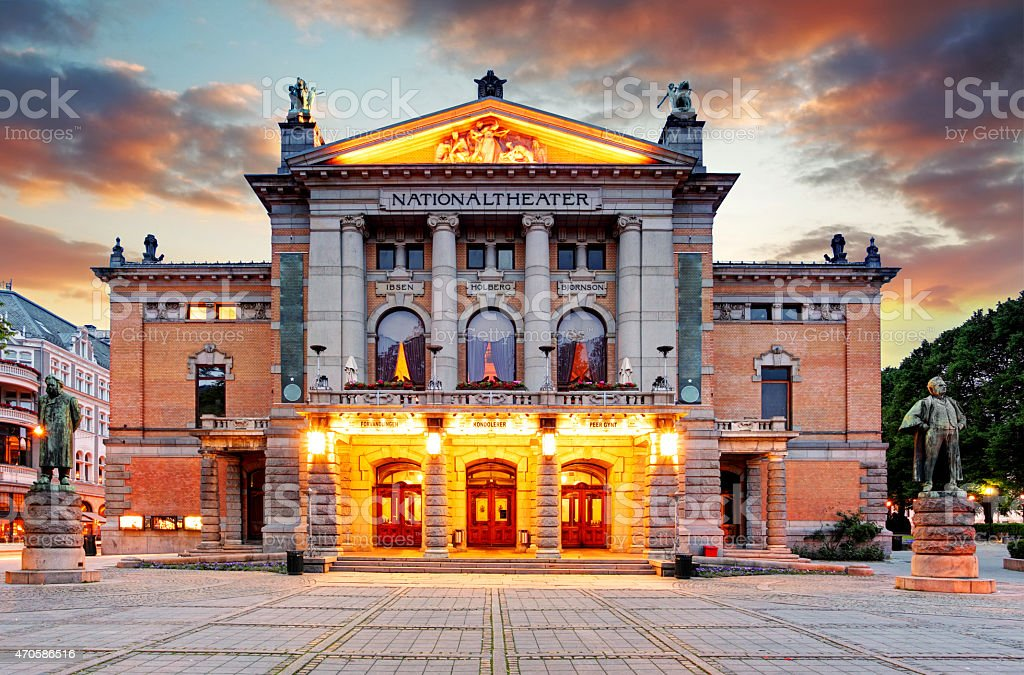 Oslo National theatre, Norway stock photo