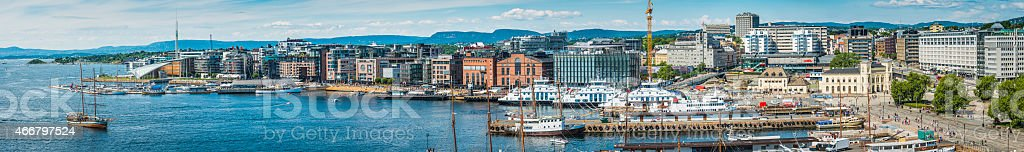 Oslo Norway panoramic view over Pipervika harbour waterfront Aker Brygge stock photo