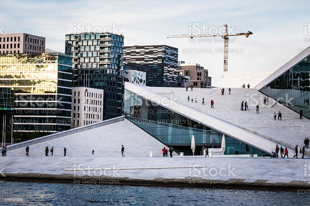 Oslo Opera House and Skyline, Oslo, Norway stock photo
