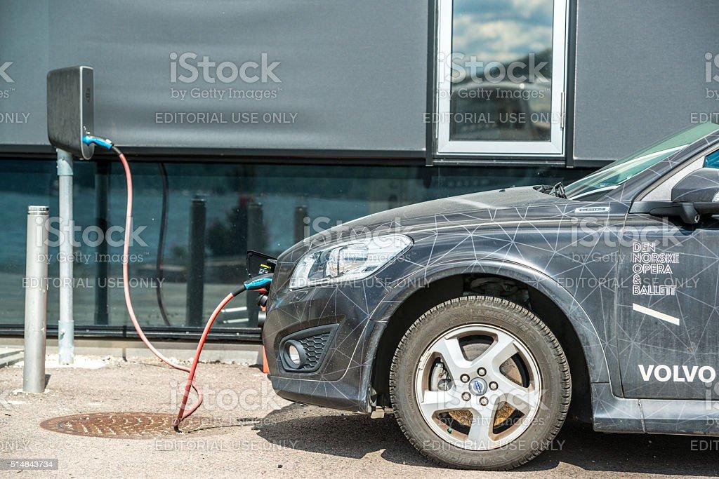 Oslo Opera House Electro Car charging stock photo