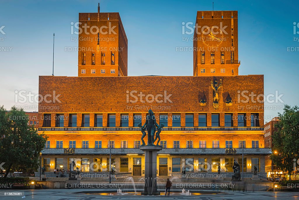 Oslo Radhus City Hall location of Nobel Peace Prize Norway stock photo