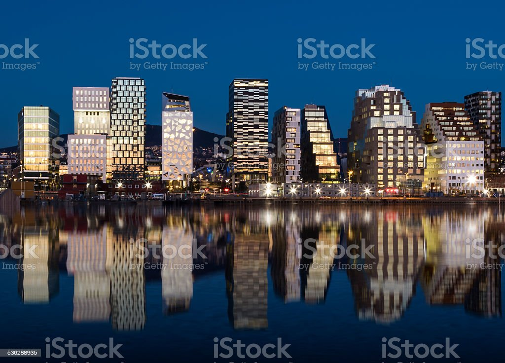 Oslo Skyline by night 2015 stock photo