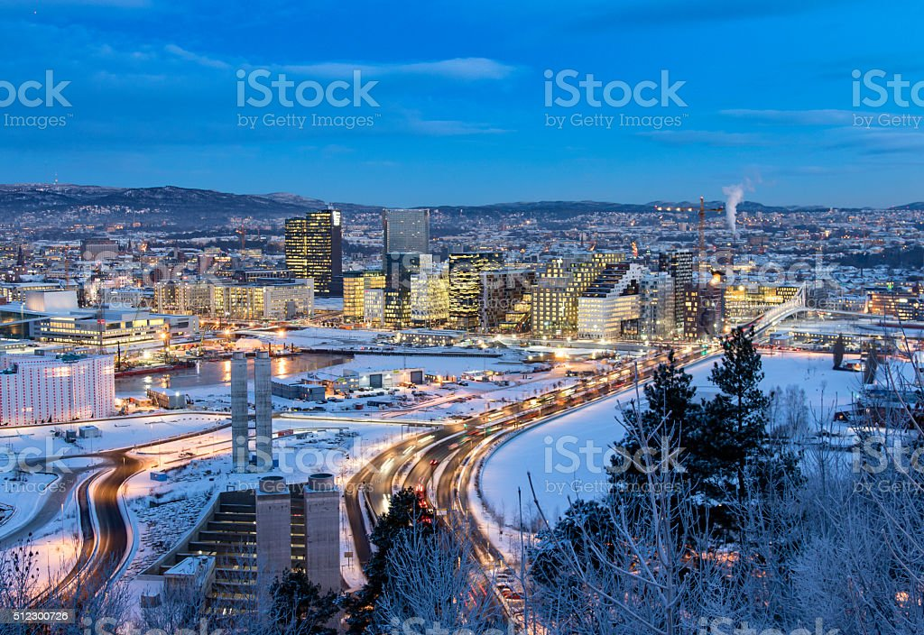 Oslo Skyline winter morning stock photo