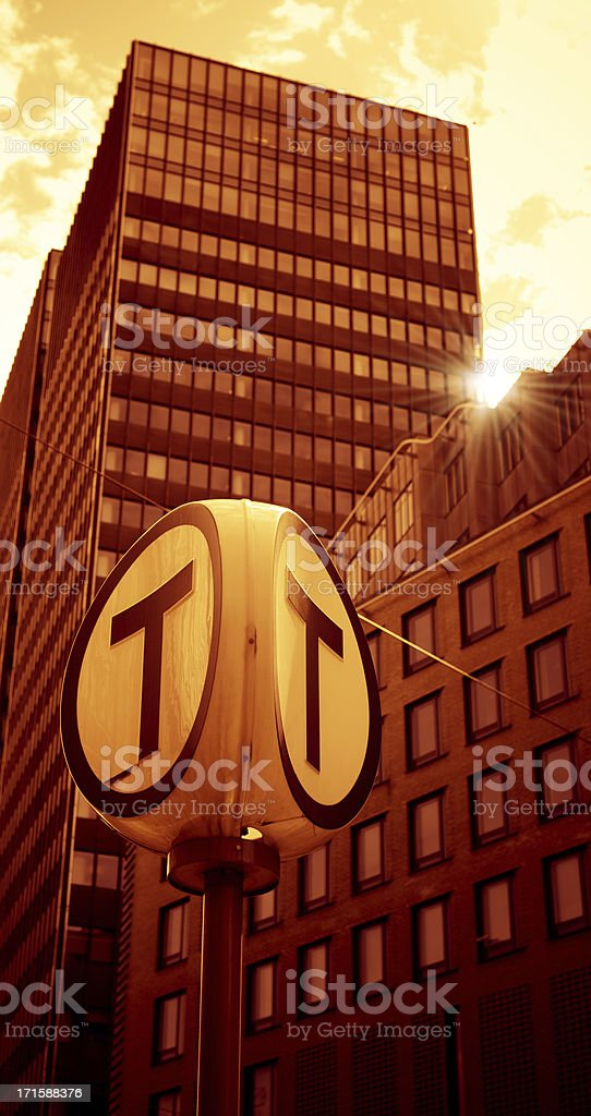 oslo skyscraper district with tram station sign royalty-free stock photo