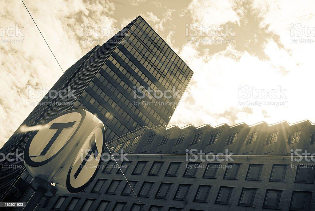 oslo skyscraper reflecting in facade, taxi sign royalty-free stock photo