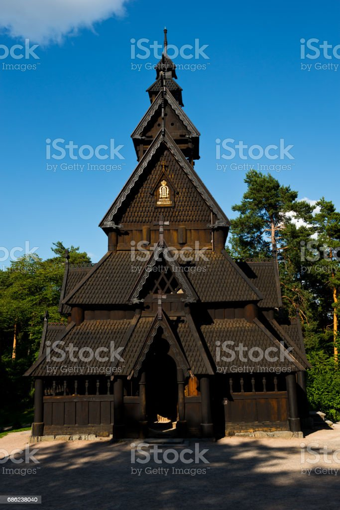 Oslo stave church stock photo