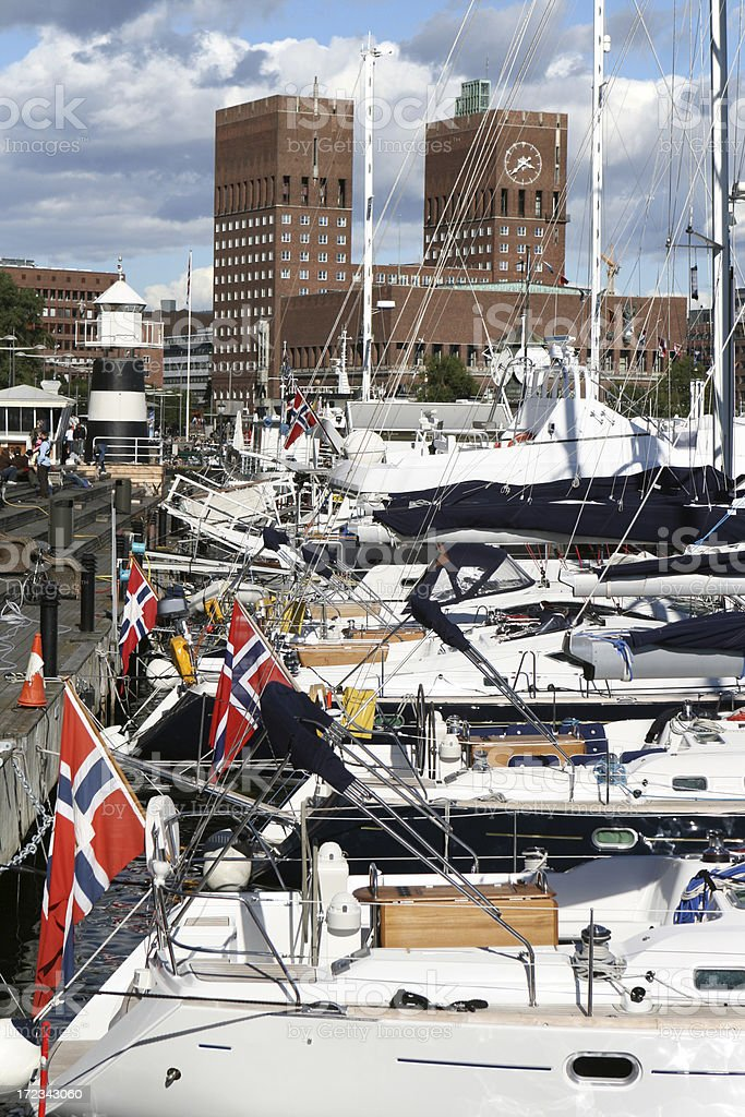Oslo Town Hall and harbour royalty-free stock photo