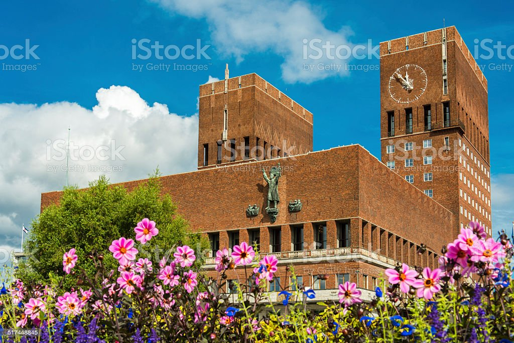 Oslo town hall stock photo