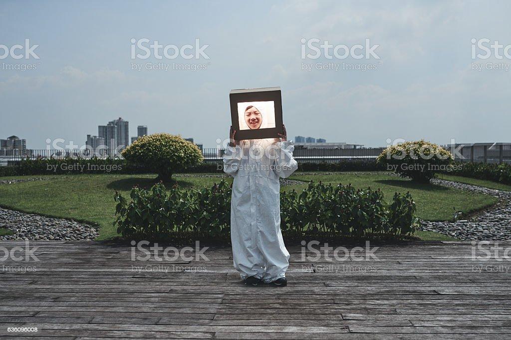 Ð¡osmonaut costume stock photo