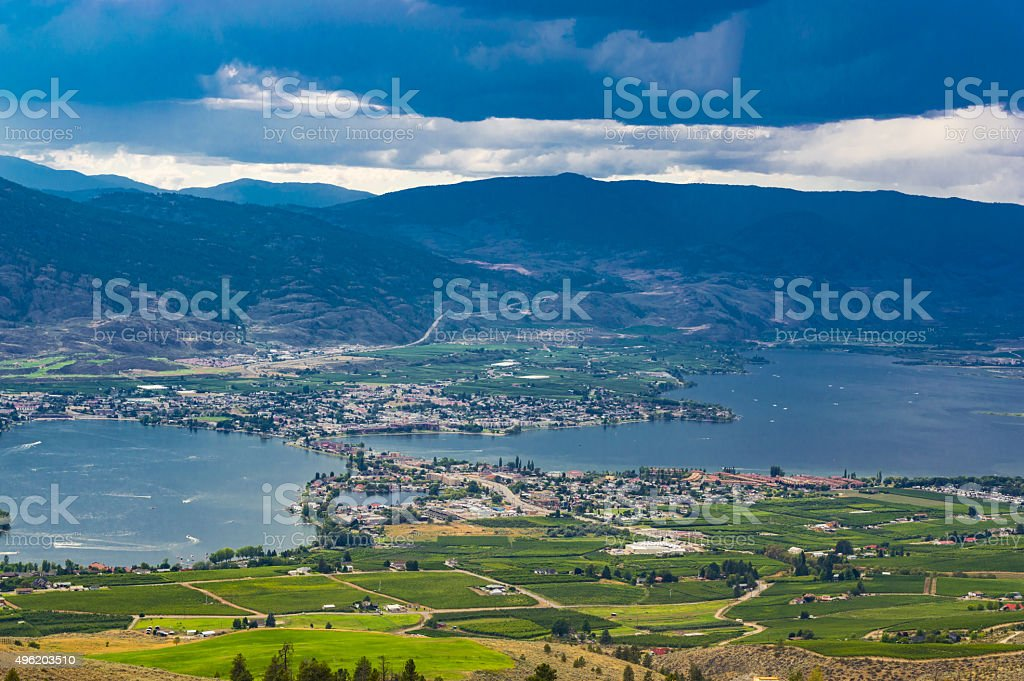 Osoyoos British Culumbia Canada and Osoyoos Lake stock photo