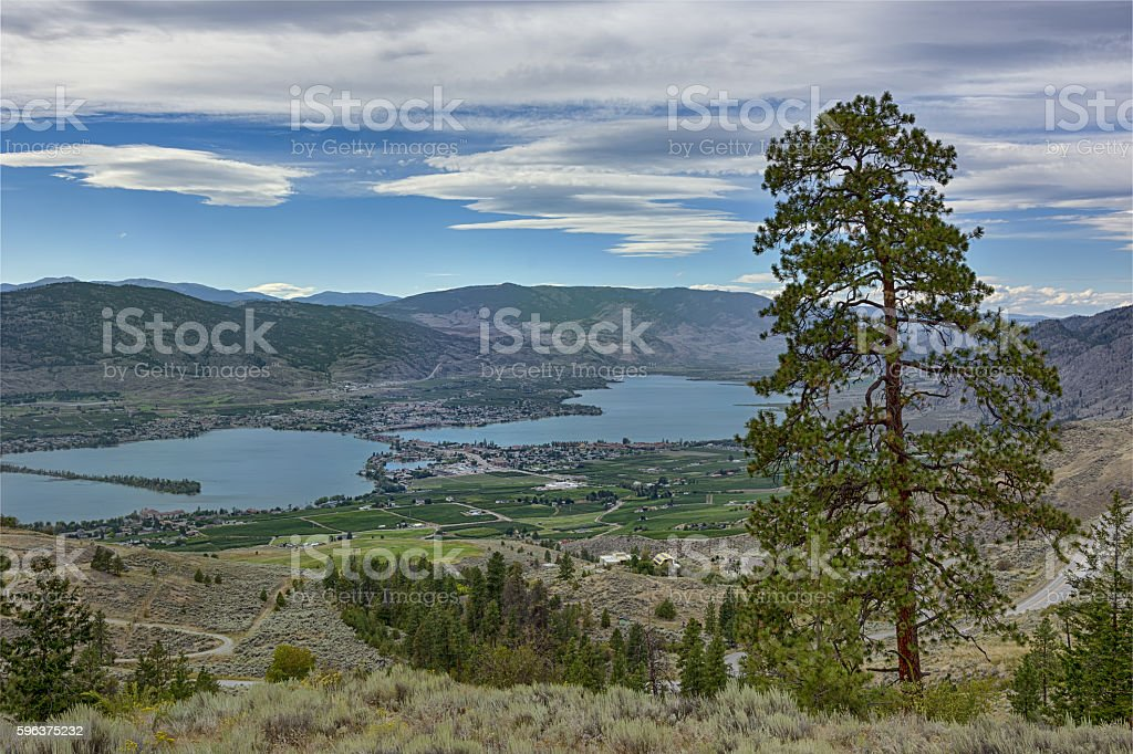 Osoyoos from Anarchist Mountain Okanagan Valley British Columbia Canada stock photo