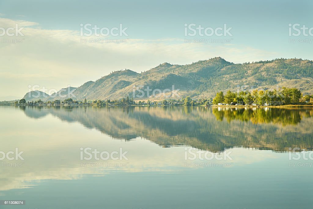 Osoyoos Lake Morning, British Columbia stock photo