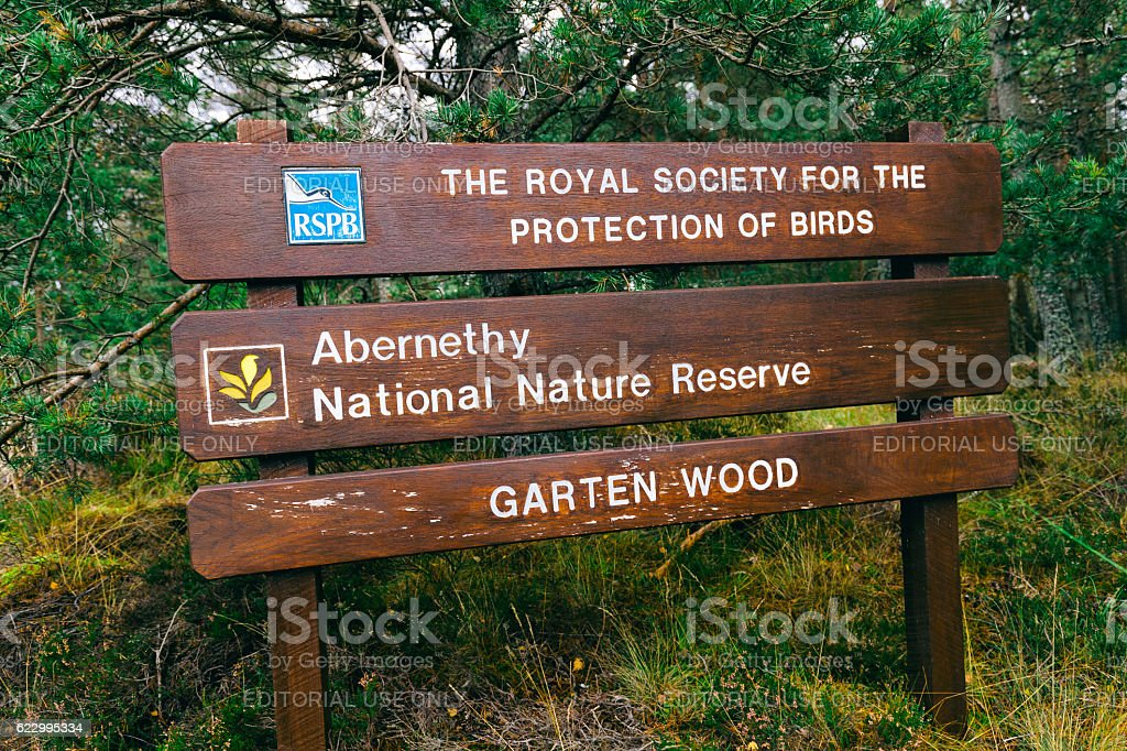 Osprey bird reserve sign, Boat of Garten, Scotland stock photo