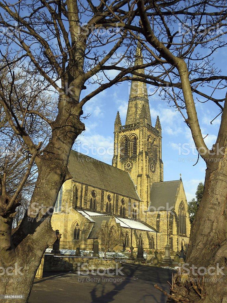Ossett Church thro Trees stock photo