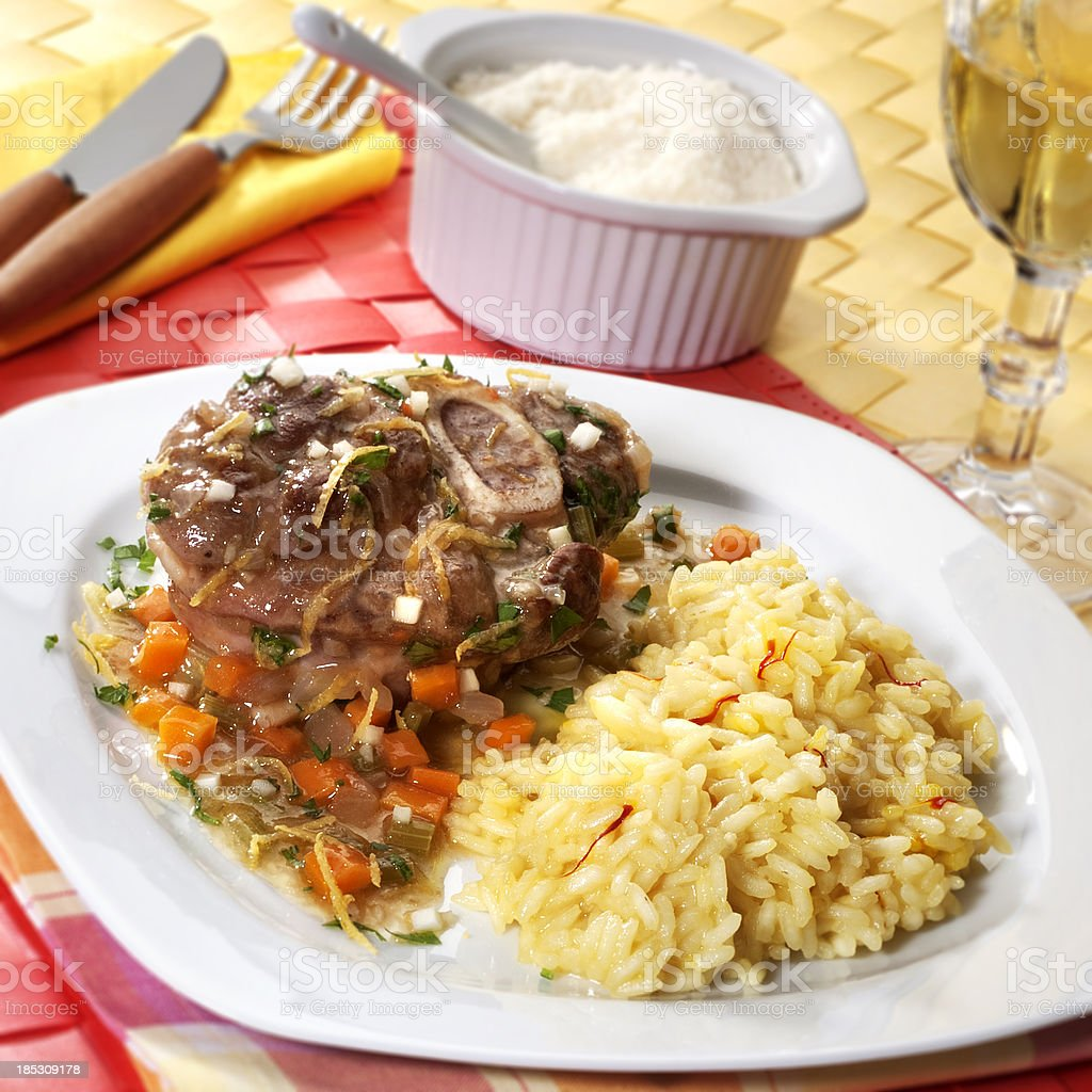 Osso buco with risotto royalty-free stock photo