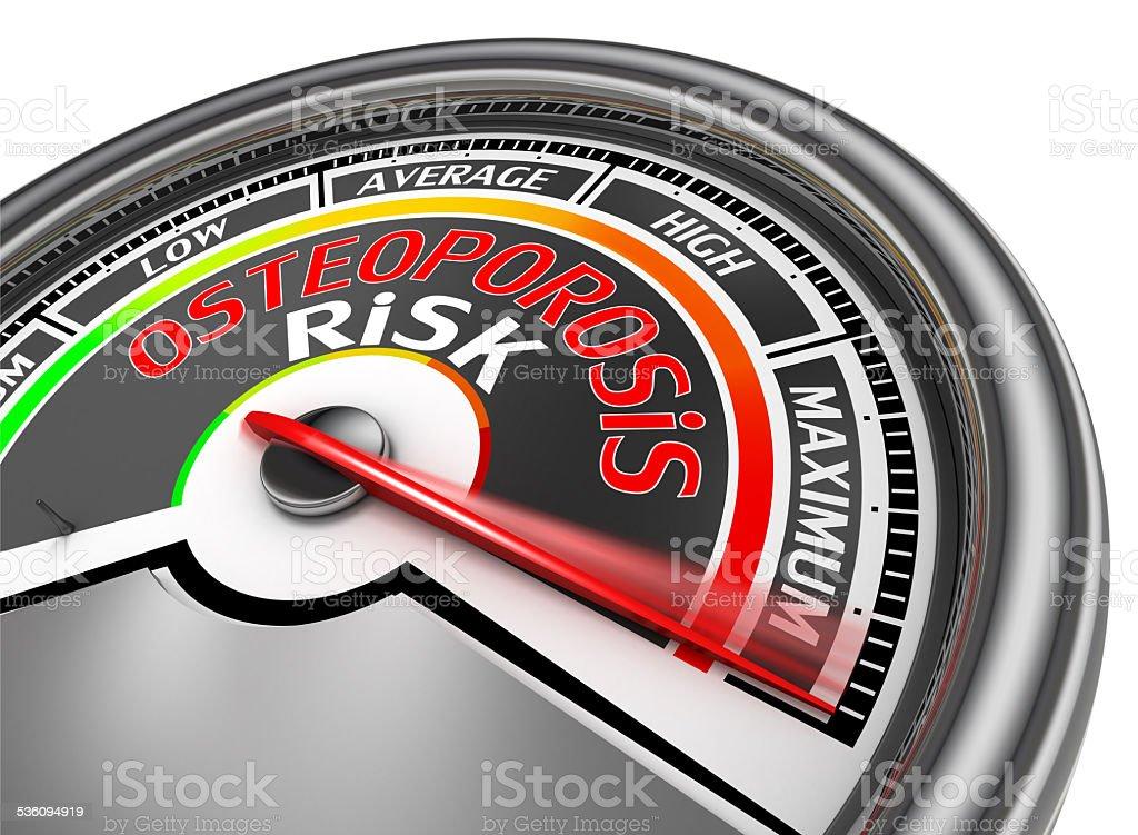 osteoporosis risk conceptual meter indicate maximum stock photo