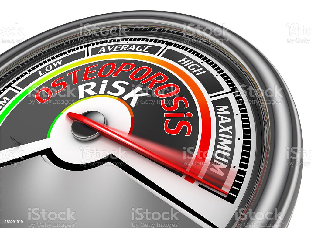osteoporosis risk conceptual meter indicate maximum stock photo