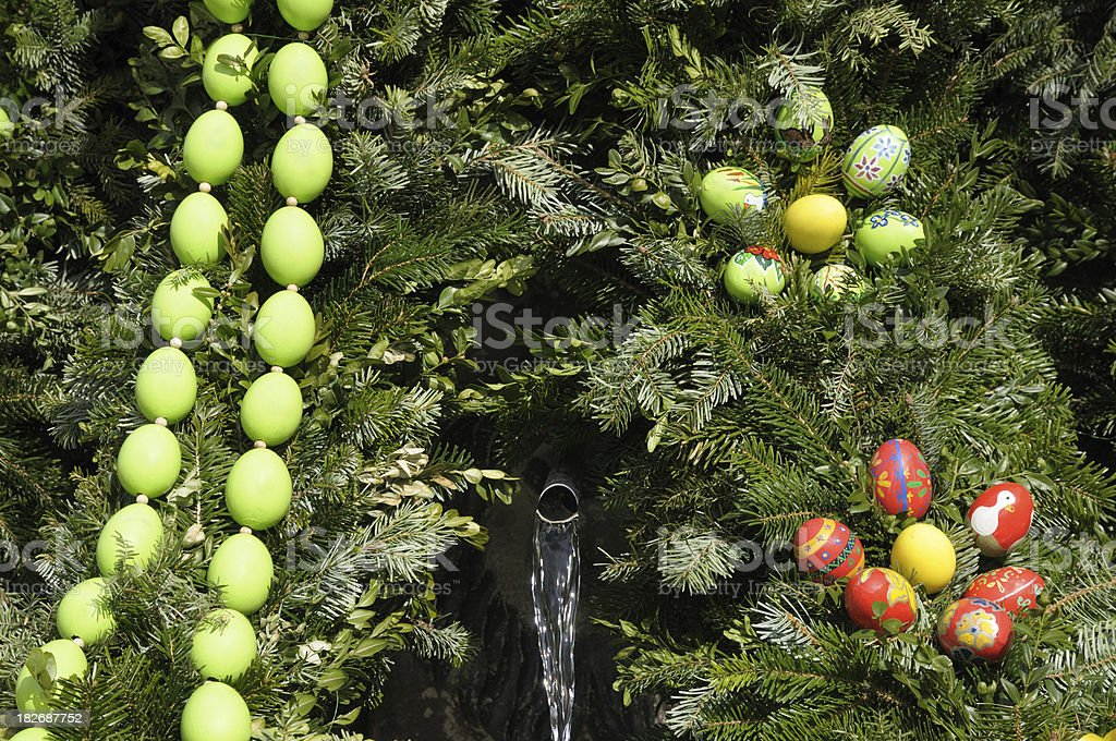 Osterbrunnen with easter eggs royalty-free stock photo