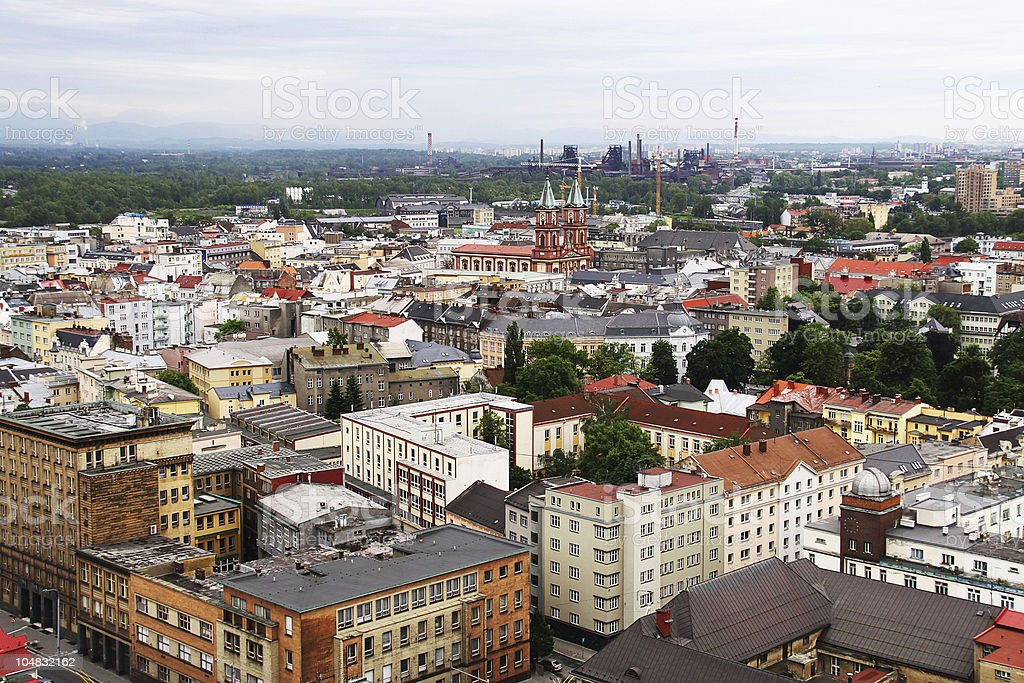 Ostrava cityscape distant  wide view royalty-free stock photo
